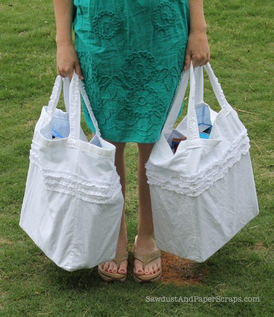 ruffled reusable reversible grocery bags