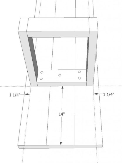 Attach bench top with washer screws through oversized holes.