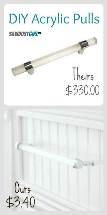 DIY acrylic pull $3.40 vs $330.00