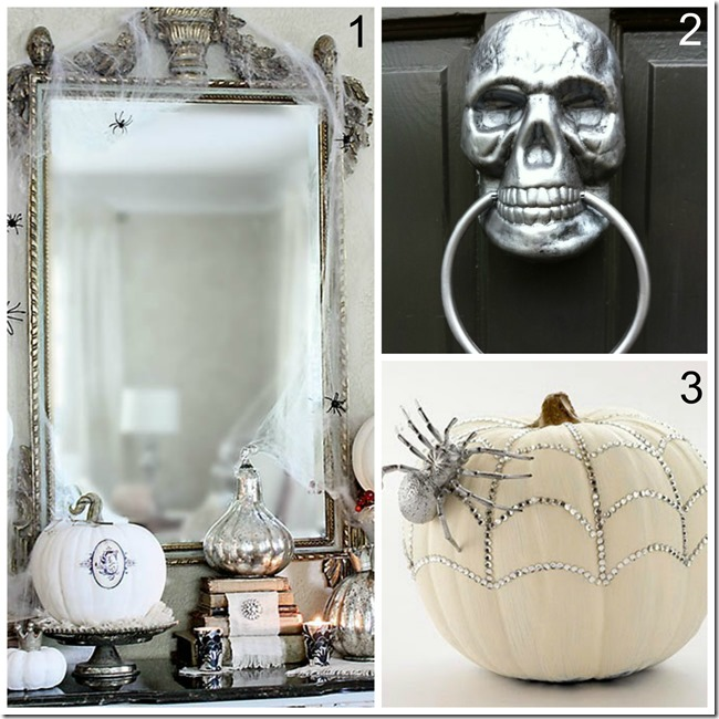 metalic silver trendy halloween decor