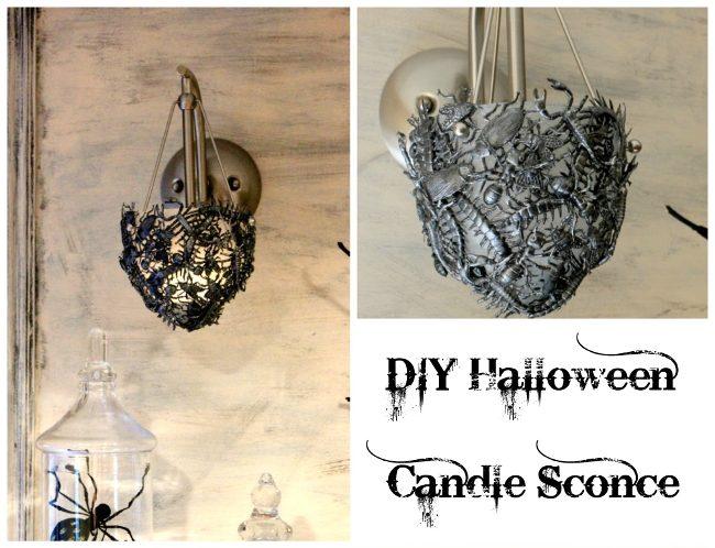 Making DIY Halloween sconce
