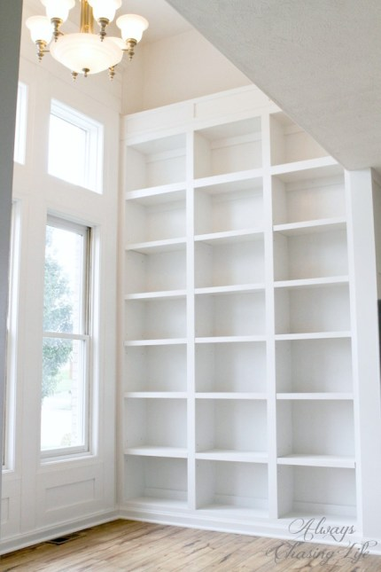 Custom DIY Library Bookshelves