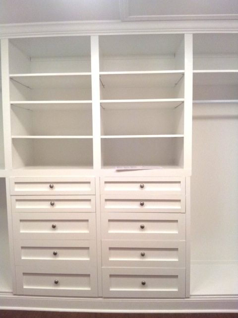 Custom cabinets in built-in closet