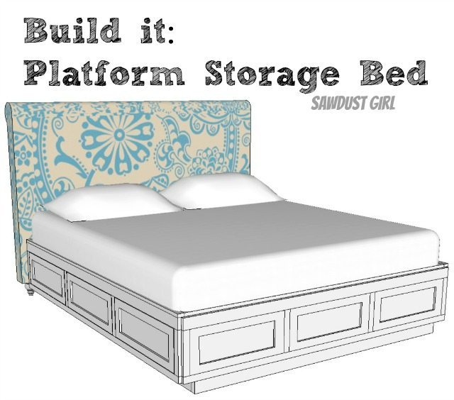 Storage bed plans Raised Cal King Platform Storage Bed Free Plans Otomiinfo Queen Size Platform Bed Frame With Storage Drawers Sawdust Girl