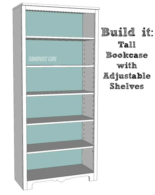 Tall Bookcase With Adjustable Shelves Sawdust Girl 174