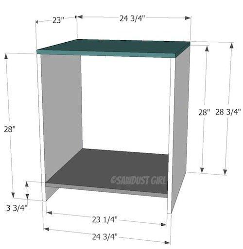 DIY office desk -large base cabinet