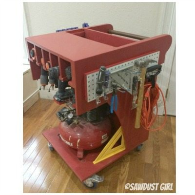 Rolling Tool Cart And Air Compressor Storage Sawdust Girl