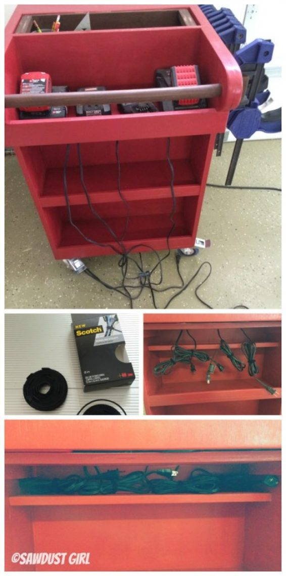 Cord management for power tool battery chargers