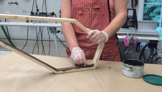 Making a wood coffin Halloween decoration