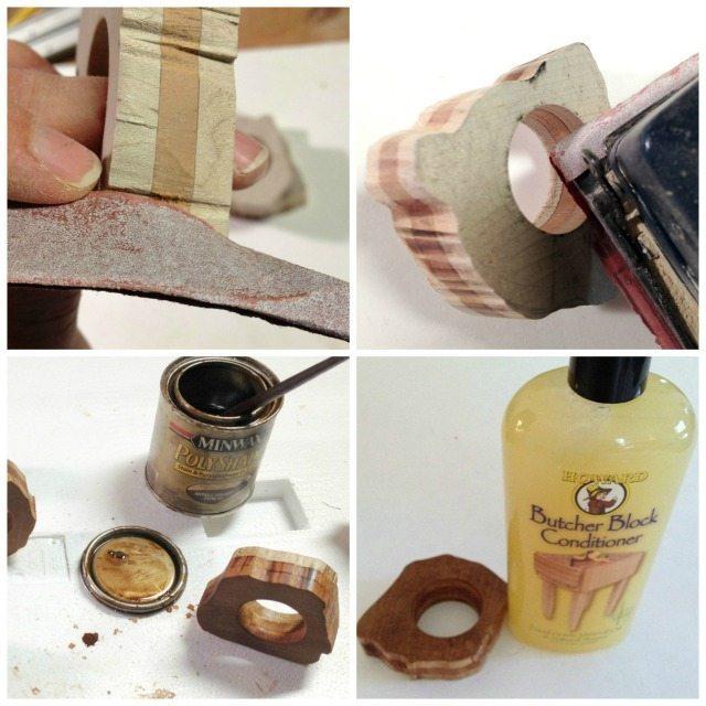 DIY Rustic Napkin Ring stain