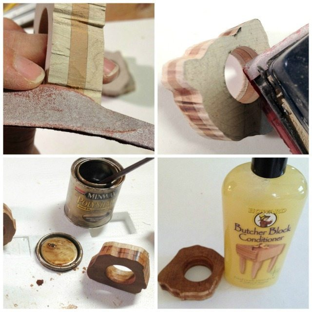DIY Rustic Napkin Ring stain