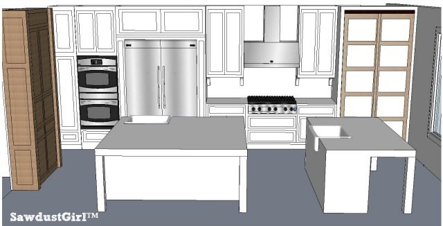 double island kitchen plan