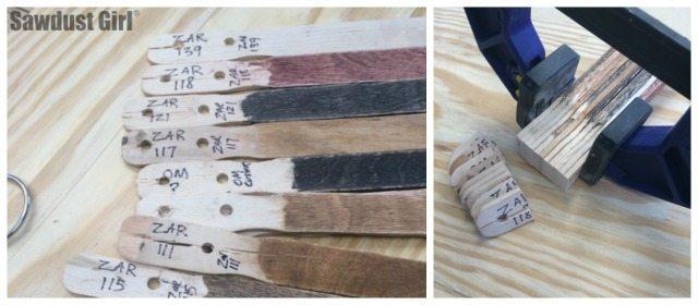 Stain Color sample sticks