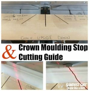 Crown moulding stops and cutting guide make crown moulding SO EASY!