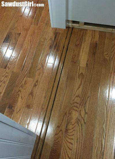 Cutting floor track for hidden pantry doors