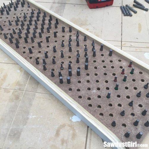 Sliding storage tray to organize bits!