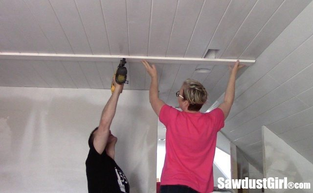 DIY Plywood V-Groove Plank Ceiling