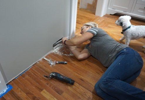 Repairing vacuum sweep and patching drywall