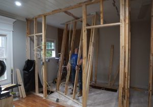 Jack and Jill bathroom framing.