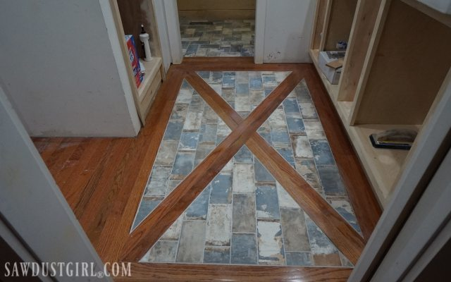 install a wood floor with tile inlay