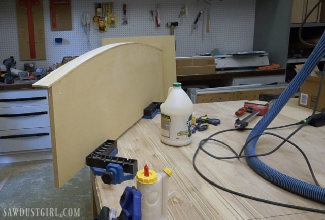 Curved floating desk.