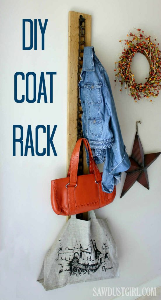 DIY Coat Rack made from rustic wood and recycled chain. Great for storage and organization, pretty enough to be functional art.