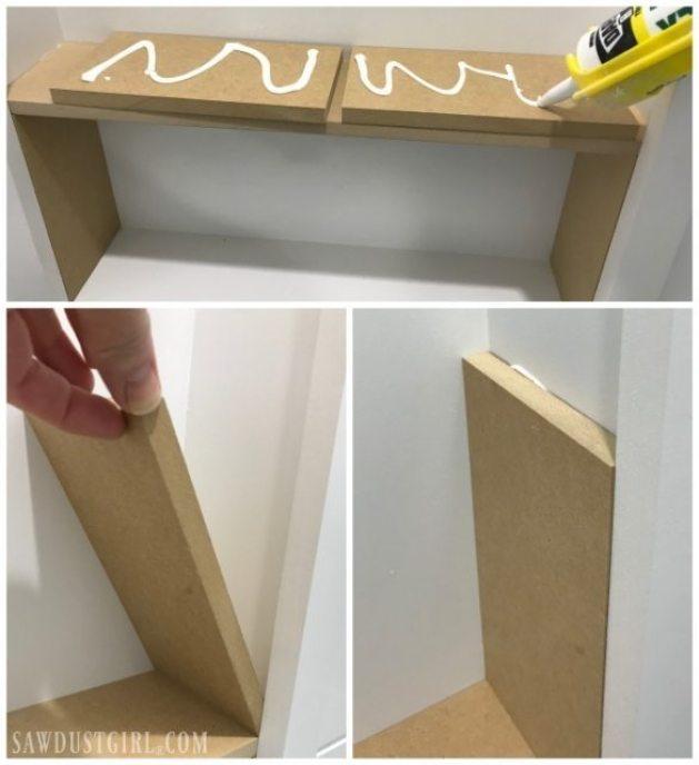caulk adhesive to install shelves
