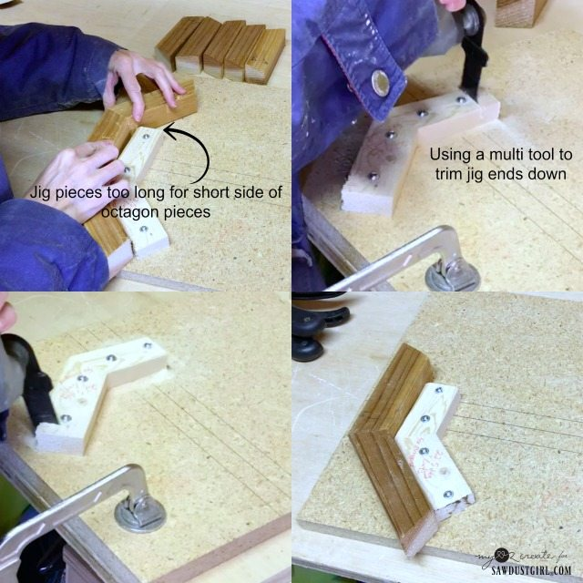 trimming jig to be smaller for building smaller octagon shapes