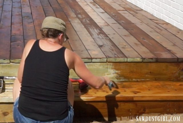 Staining and sealing deck steps