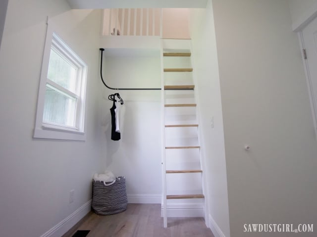 open closet in bedroom