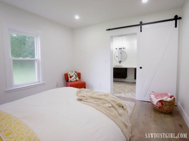 master bedroom with barn door