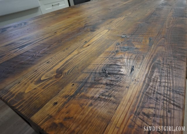 Reclaimed lumber kitchen countertop. Reclaimed wood