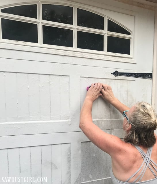 Cleaning a garage door