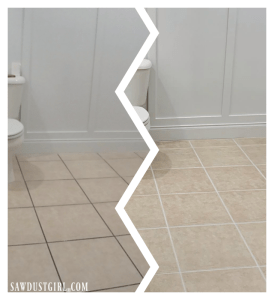 before and after using grout paint (Polyblend Grout Renew)