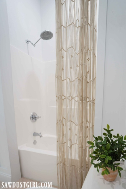 Macrame' decorative shower curtain