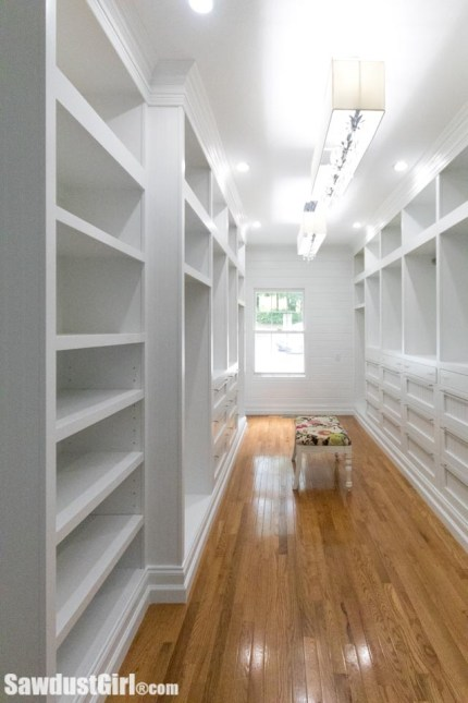 Custom built-in walk-in closet cabinets