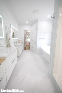 white and bamboo master bathroom