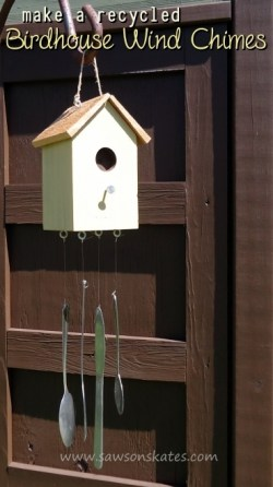 Free DIY plans to build a Birdhouse Wind Chimes using recycled silverware