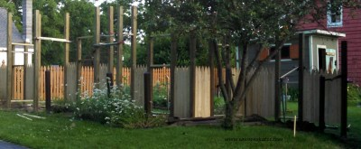 All of the posts and fence sections are installed.