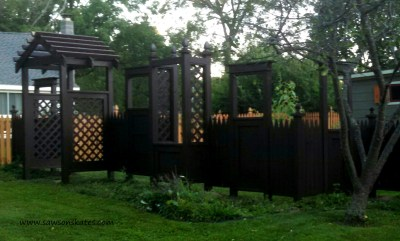 Thanks to a paint sprayer, I was able to stain the entire fence in one day!