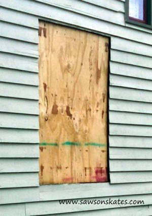 bathroom window plywood sos
