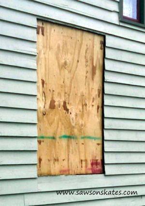 bathroom window plywood sos