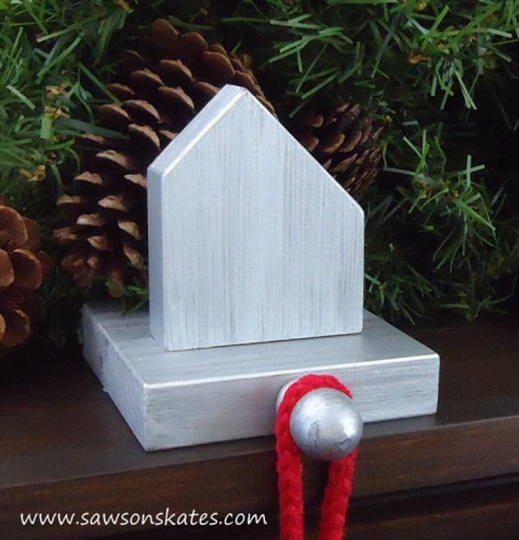 Salt box style DIY stocking holder made with scrap wood