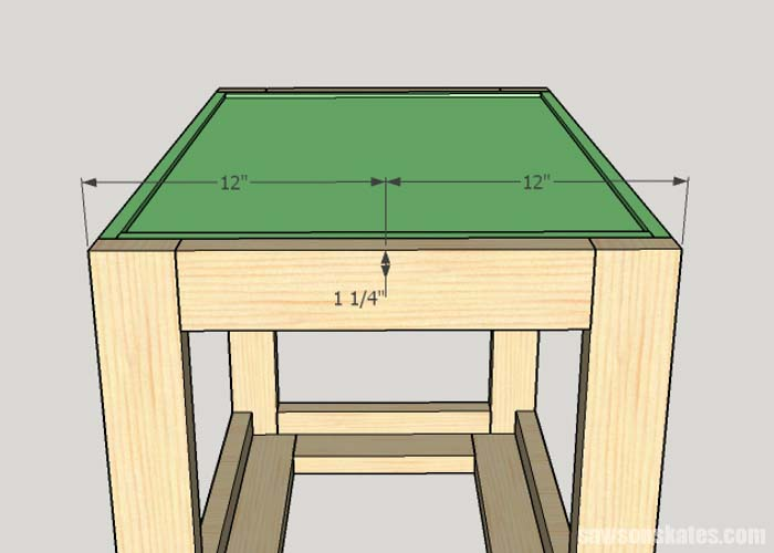 Sketch showing the hole location for the mounting hardware of the DIY Flip-Top Cart
