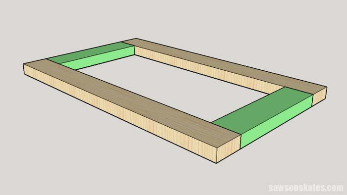 Sketch showing the bottom assembly of the DIY Flip-Top Cart