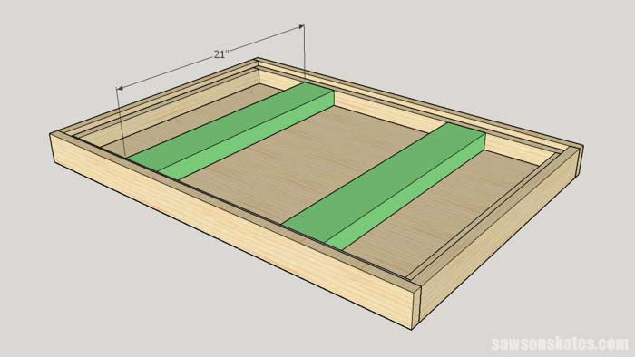 Sketch showing the table top supports for the DIY Flip-Top Cart