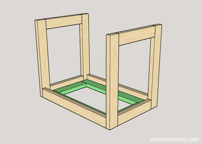 Sketch showing the bottom being installed in the DIY Flip-Top Cart