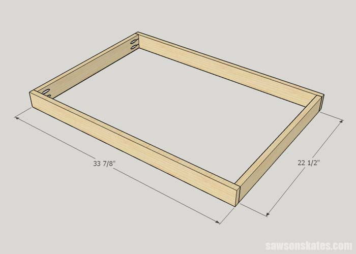 Sketch showing the table frame assembly for the DIY Flip-Top Cart