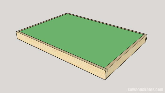 Sketch showing the plywood top being installed in the table frame for the DIY Flip-Top Cart