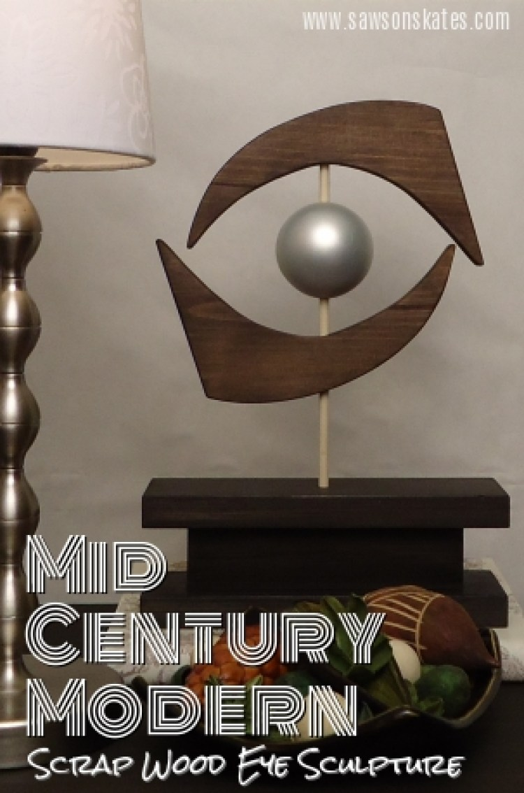 mid century modern scrap wood eye sculpture